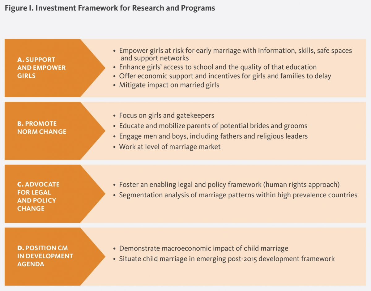 Investment framework for research and programs