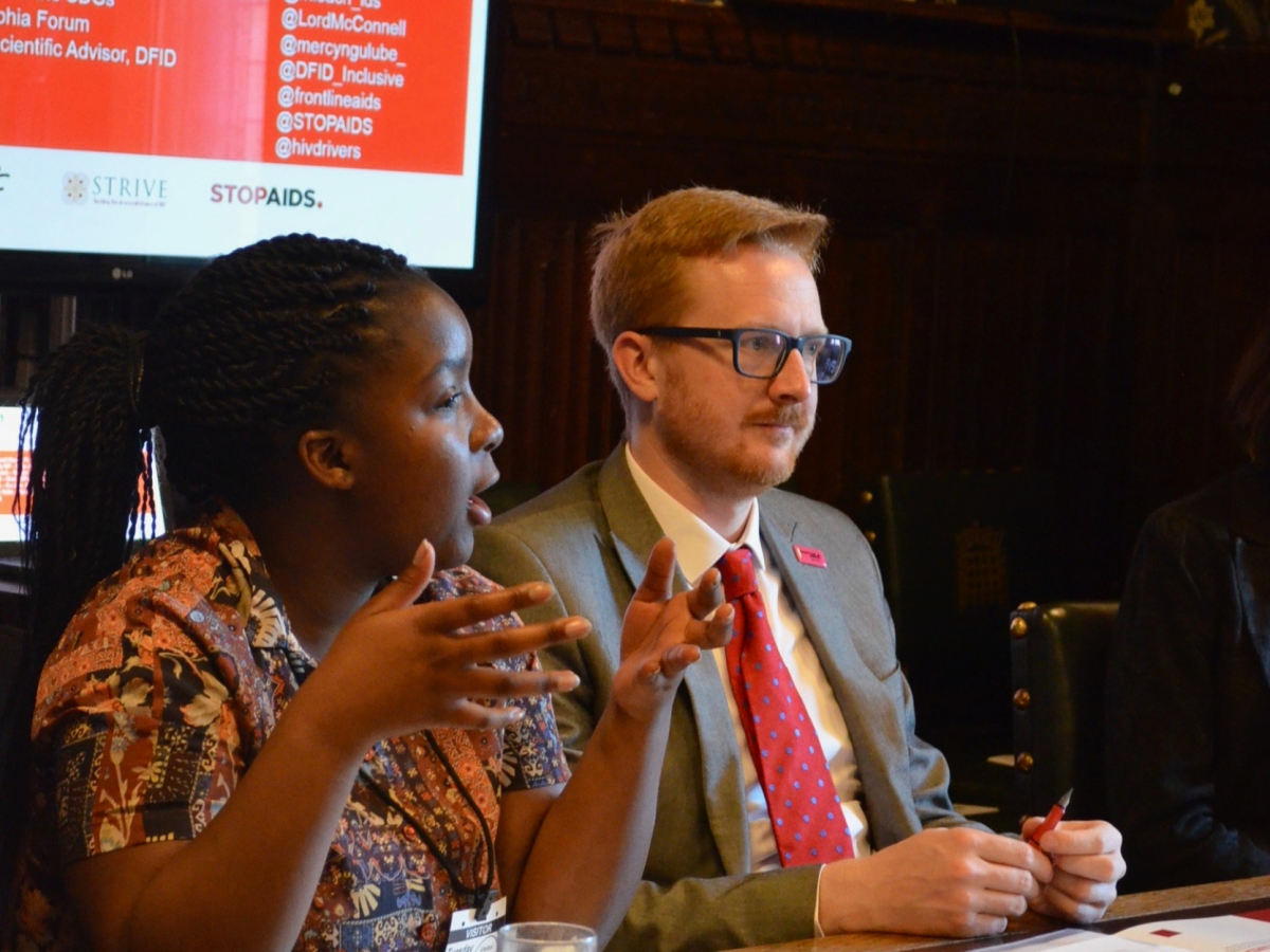 Mercy Ngulube and event chair Lloyd Russell-Moyle MP