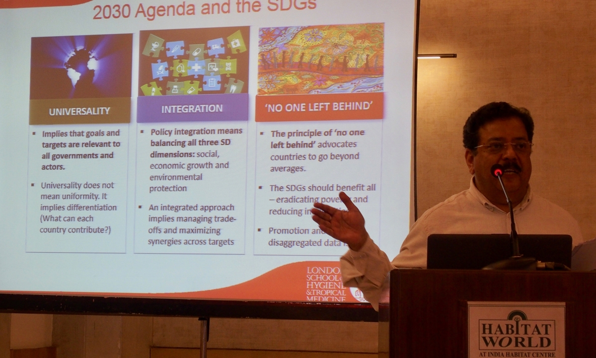 Dr Ravi Verma, Director of ICRW-Asia, explained the interface between structural HIV prevention and achieving the SDGs