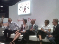 Stigma panel at the Global Village, Anne Stangle of ICRW second from left