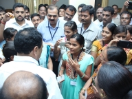 Adolescent girl leaders from Samata's intervention villages interact with the state Minister for Primary and Secondary Education