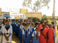 Adolescent girls and ASHA workers rally on violence against women (VAW) in Bagalkot