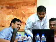 Meanwhile, KHPT's research and programme teams meet to plan. L-R: Chidambar Kabbur, Kumar Vadde, Gautam Sudhakar