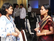 Conference keynote speaker, K.G Santhya from Population Council talks with Dr.Bincy Wilson from Terres de Hommes