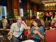 Shelley Lees from SaME in discussion; the beautiful LSHTM library
