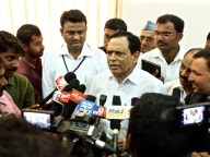 Kimmanne Ratnakar, Minister for Primary and Secondary Education, Karnataka interact with the press at the conference