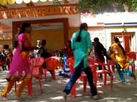 Musical chairs. Girls enjoy exercise and competition, just as boys do